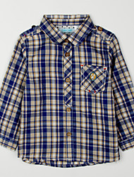 abordables -Tee-shirts Quotidien Tartan Coton Automne Bleu