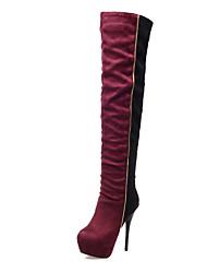 cheap -Women's Shoes Leatherette Winter Fashion Boots Boots Stiletto Heel / Platform >50.8 cm / Over The Knee Boots Black / Blue / Burgundy