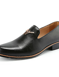 cheap -Men's Shoes Leather Summer / Fall Comfort Loafers & Slip-Ons Walking Shoes Black / Yellow / Burgundy / Wedding / Party & Evening