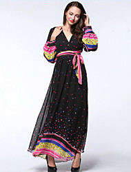 Women's Boho Beach / Plus Size Boho Chiffon Dress,Polka Dot Deep V Maxi Long Sleeve Black Polyester Summer