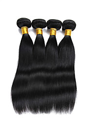"4 Pcs/Lot 8""-26"" Virgin Indian Remy Hair Natural Black Straight Human Hair Extensions For Salon 400G"