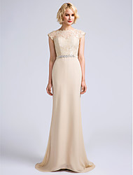 cheap -Mermaid / Trumpet Jewel Neck Sweep / Brush Train Chiffon Bridesmaid Dress with Lace by LAN TING BRIDE®