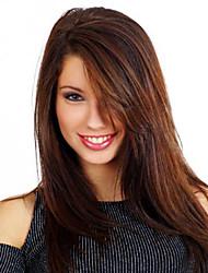 Donna Parrucche sintetiche Senza tappo Lisci Kinky liscia Marrone scuro Con frangia parrucca nera Parrucca di Halloween Parrucca di