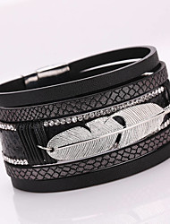 Hot Style Metal Leaves Feathers PU Leather Multilayer Personality Ultra Wide Bracelet Alloy Magnetic Clasp Christmas Gifts