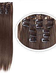 a buon mercato estensioni dei capelli clip in capelli sintetici # 8 7pcs 22inch 100g / set pezzi di capelli sintetici di colore marrone