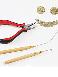 cheap -Plastics Wooden Aluminium Wig Caps Clips Accessory Kits Wig Adhesive Glue Pliers Micro Ring Needles Micro Rings/Loops High Quality 1Pcs