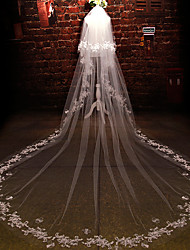 cheap -Wedding Veil Two-tier Cathedral Veils Cut Edge Tulle Lace Ivory