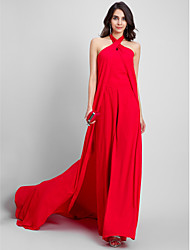 Sheath / Column Halter Court Train Chiffon Formal Evening Dress with Pleats by TS Couture®