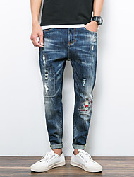 Men's Plus Size Skinny Chinos Pants,Casual/Daily Punk & Gothic Letter Mid Rise Drawstring Cotton Inelastic Fall / Winter