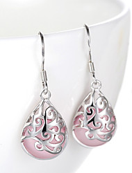 2016 Korean Women 925 Silver Sterling Silver Jewelry Pink Opal Waterdrop Earrings Drop Earrings 1Pair