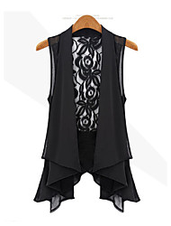 Women's Lace Going out / Beach / Party/ Sophisticated Summer Jackets Shirt Collar Sleeveless Blue Others Sheer