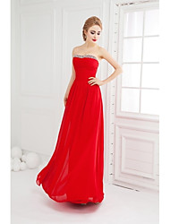 Ball Gown Strapless Floor Length Chiffon Prom Formal Evening Dress with Beading Ruching by SGSD