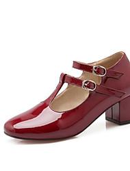 Calçados Femininos-Saltos-Saltos / Plataforma Básica / Bico Quadrado-Salto Grosso-Preto / Vermelho / Cinza-Couro Envernizado-Escritório &