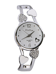 Women's Fashion Watch Quartz Casual Watch Alloy Band Heart shape Bangle Silver