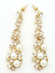billige -Dame Kvast Dråbeøreringe - Imiteret Perle, Simuleret diamant Mode Guld Til Daglig Stævnemøde