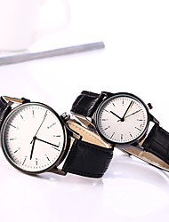cheap -Couple's European Style Leather Fashion Lovers Quartz Wrist Watches