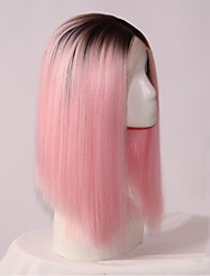 Fashion Straight Synthetic Lace Front Wigs Glueless 1B/Pink Color Wig