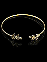cheap -Leaf Gold/Silver Cuff Bangle Bracelet Jewelry Set (6*7cm) Christmas Gifts