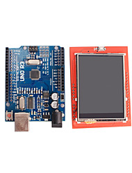 cheap -Improved Version UNO R3 ATMEGA328P Board + 2.4 Inch TFT LCD Touch Shield Display Module for Arduino