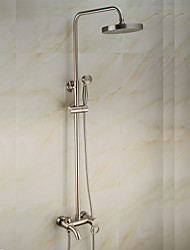 cheap -Antique Centerset Waterfall Rain Shower Handshower Included Pullout Spray Rotatable Ceramic Valve Single Handle Two Holes Nickel Brushed