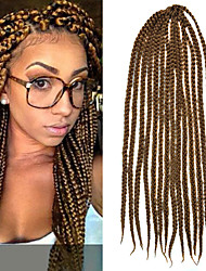 "Light Brown Senegal Crochet Twist Large Box Braids 24"" Kanekalon 3 Strands 100g Hair Braids"