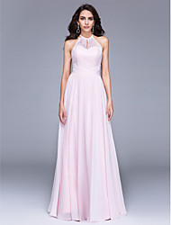 cheap -A-Line Jewel Neck Floor Length Chiffon Lace Formal Evening Dress with Lace Ruching by TS Couture®