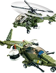 Building Blocks Helicopter Toys Aircraft Fighter Helicopter Military Kids Boys' Pieces