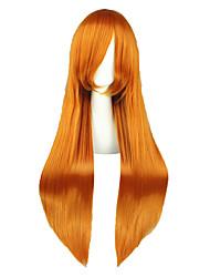 economico -Donna Parrucche sintetiche Lungo Kinky liscia Arancione Attaccatura dei capelli naturale Parrucca Cosplay Parrucca per travestimenti