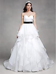 A-Line Sweetheart Chapel Train Organza Wedding Dress with Criss-Cross by LAN TING BRIDE®
