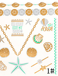 cheap -8 Assorted Patterns Gold Tattoo Sticker Temporary Flash Tattoos Star Jewllry Necklace Body Art with 3PCS Colorful Tattoo