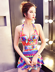 Women's Halter One-piece Floral Ruffle Polyester Print