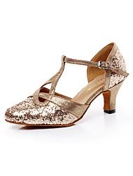 cheap -Women's Dance Shoes Sparkling Glitter Sparkling Glitter Latin / Salsa Sandals Chunky Heel Professional / Indoor Gold