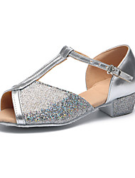 cheap -Latin Shoes Sparkling Glitter Heel Indoor / Practice Sparkling Glitter / Hollow-out Flat Heel Customizable Dance Shoes Silver / Golden