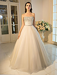 cheap -Ball Gown Princess Strapless Floor Length Tulle Formal Evening Dress with Beading Crystal Detailing Sequins by QZ