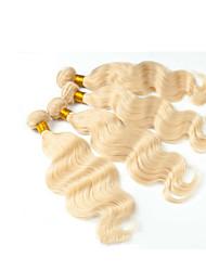 cheap -Eurasian Hair Wavy Hair Weft with Closure Human Hair Weaves Light Blonde Human Hair Extensions