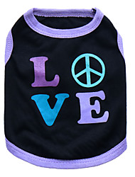 cheap -Cat Dog Shirt / T-Shirt Dog Clothes Heart Black and Purple Pink Cotton Costume For Pets Men's Women's Fashion
