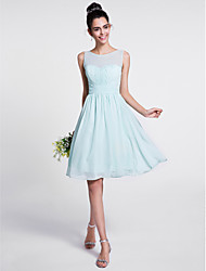 cheap -A-Line Scoop Neck Knee Length Chiffon Bridesmaid Dress with Draping Ruched by LAN TING BRIDE®