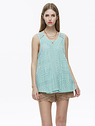 cheap -Women's Going out Casual Summer Tank Top,Solid Round Neck Sleeveless Cotton Linen Polyester Nylon Thin