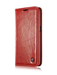 economico -Custodia Per Samsung Galaxy Samsung Galaxy Custodia A portafoglio / Porta-carte di credito / Con supporto Integrale Tinta unita pelle sintetica per S6 edge plus / S6 edge / S6