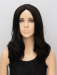 Donna Parrucche sintetiche Medio Ondulati Nero parrucca nera Parrucca di Halloween Parrucca di carnevale costumi parrucche
