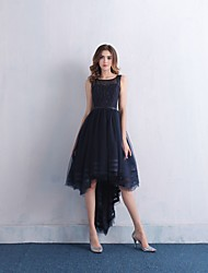 cheap -A-Line Boat Neck Asymmetrical Lace / Satin / Tulle Little Black Dress Cocktail Party / Prom Dress with Beading / Lace by LAN TING Express