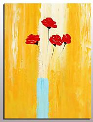 Недорогие -Hang-роспись маслом Ручная роспись - Цветочные мотивы / ботанический Modern С рамой