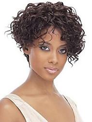 Donna Parrucche sintetiche Senza tappo Riccio Afro Taglio medio corto parrucca nera costumi parrucche