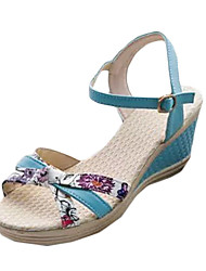 cheap -Women's Shoes PU Summer Sandals Wedge Heel Buckle for Casual White Blue Pink