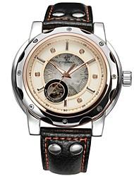 Недорогие -FORSINING Муж. Часы со скелетом Механические часы С автоподзаводом С гравировкой Кожа Группа Роскошь Черный