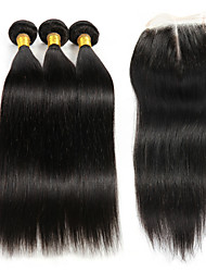 cheap -Brazilian Hair Kinky Curly Hair Weft with Closure 3 Bundles With  Closure 8-26inch Human Hair Weaves 4x4 Closure natural black