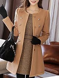 preiswerte -Damen Solide Einfach Lässig/Alltäglich Mantel,Winter Gekerbtes Revers Langarm Weiß / Schwarz / Braun Mittel Wolle