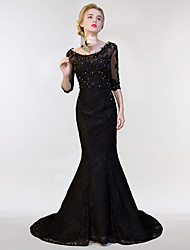 Mermaid / Trumpet Illusion Neckline Sweep / Brush Train Lace Tulle Formal Evening Dress with Lace Sequins by SG