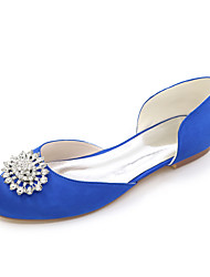 Women's Spring Summer Fall Winter Satin Wedding Party & Evening Flat Heel Rhinestone Black Blue Pink Purple Ivory White Silver