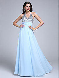 cheap -Sheath / Column Halter Floor Length Chiffon Prom / Formal Evening Dress with Sequin Ruched by TS Couture®